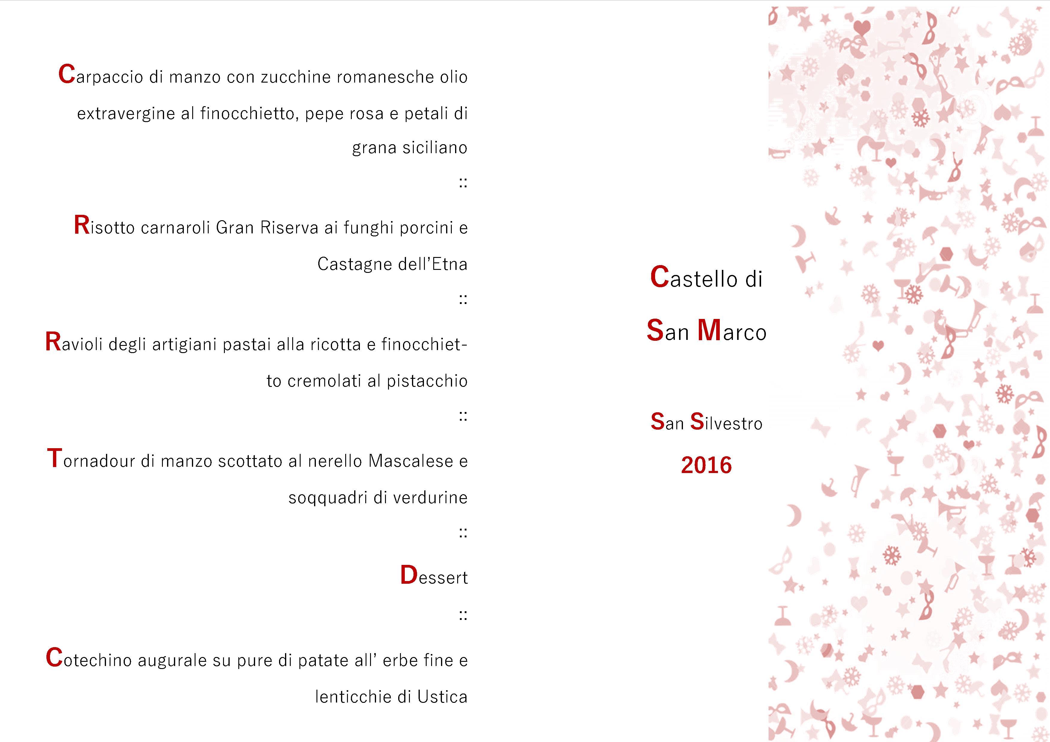 Castello San Marco – Menu San Silvestro 2016 carne ok